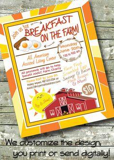 Farm Breakfast ~ Morning Meet & Greet ~ Networking Breakfast ~ 5x7 Invite ~ 8.5x11 Flyer ~ 11x14 Poster ~ 300 dpi Digital Invitation