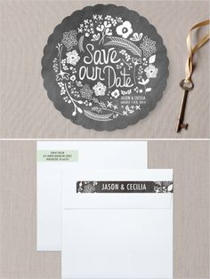 handwritten florals save the date cards http://www.weddingchicks.com/2013/10/29/minted/