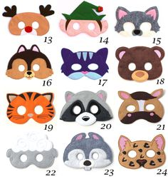 This listing is for Pick Any 2 of our super cute felt kids masks. Feel free to mix and match. Please leave us a note is the message section when checking out letting us know which masks you would like.  These are great for Halloween, costume parties, everyday dress up and they make wonderful party favors as well. Children have so much fun with our masks letting their imaginations run wild. Every kid loves pretend play and now you can help your child have a vivid imagination with our handmade…