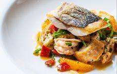 Sea Bass and Tiger Prawn Panzanella-Style Salad with Chilli Dressing