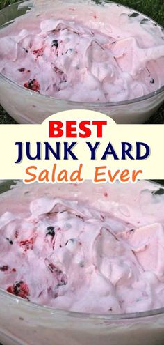 BEST JUNK YARD SALAD EVER When youve got just a few minutes to spare this is definitely a dessert you should turn to If you have loads of time on your hands make this and. Fluff Desserts, Jello Desserts, Jello Recipes, Fruit Salad Recipes, Ww Recipes, Sweet Recipes, Dessert Recipes, Cooking Recipes, Jello Salads