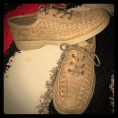 Men's Ecco Beige Woven Leather Shoes Beautiful never worn men's Echo Woven Beige Shoes! Absolutely stunning! GREAT for business ware or business casual! Size 12! Make offers! Reasonable offers accepted!! :) Ecco Shoes