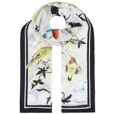 Roberto Cavalli Bird Print Silk Scarf (25370 RSD) ❤ liked on Polyvore featuring accessories, scarves, roberto cavalli, roberto cavalli scarves, patterned scarves, silk scarves and pure silk scarves