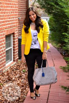 yellow blazer with screen tee and flats
