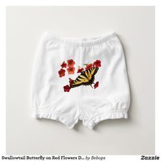 Swallowtail Butterfly on Red Flowers Diaper Cover