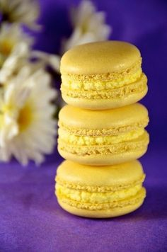 Purple and Gold, Yellow - Lemon Buttercreme Macarons Just Desserts, Delicious Desserts, Dessert Recipes, Yummy Food, Lemon Macaroons, French Macaroons, Macaroon Recipes, Cookies Et Biscuits, Sweet Tooth