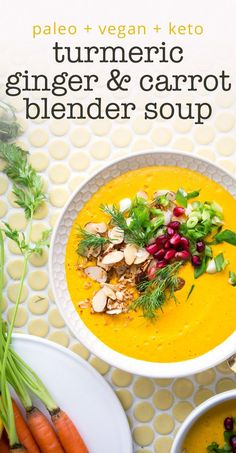 Lemongrass-Ginger & Turmeric Carrot Blender Soup with Coconut Almond Streusel — Brooke Lark Healthy Soup Recipes, Raw Food Recipes, Chili Recipes, Easy Recipes, Dinner Recipes, Lemongrass Soup, Blender Soup, Carrot Ginger Soup, Gourmet