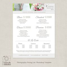 photography pricing template price guide list for photographers