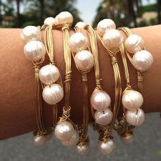 Pretty in Pearls State Charm Bangle Bracelet #wirejewelry