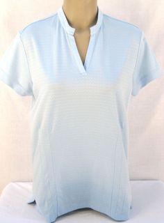 Adidas Climalite Women's Short Sleeve V'd Neck Golf T Shirt Top L Light Blue #Adidas #ShirtsTops