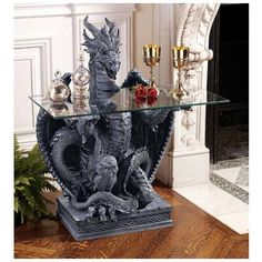 Toscano, CL3195, Accent Tables, Toscano Cl3195 Subservient Dragon Table Rpk Os3