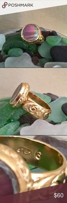 ✨NWT PWiston Antique Abalone Shell Button 925 Ring Wearable art! Antique abalone shell button sterling silver stamped gold tone etched detailed thick band high quality handcrafted ring in a size 6. Pamela Wiston, SF artisan I worked for in high school, designs/crafts this ring line, Cute As A Button. She's uber talented & received the honor to display several of her antique button jewelry pieces @ SF's DeYoung Asian Museum. Museums across US have followed suit. Her quality/craftsmanship is…