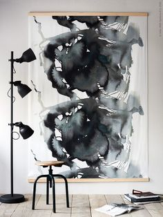 IKEA Art Hack Ideas for Large Blank Walls is part of home Hacks Ideas - I've said it before and I'll say it again Finding affordable art that you actually like is one of the hardest parts of furnishing a home Big Blank Wall, Big Wall Art, Blank Walls, Decor For Large Wall, Framed Art, Giant Wall Art, Simple Wall Art, Hacks Ikea, Ikea Fabric
