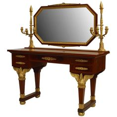 19th c. French Empire Gilt Bronze and Mahogany Dressing Table | From a unique collection of antique and modern vanities at https://www.1stdibs.com/furniture/tables/vanities/