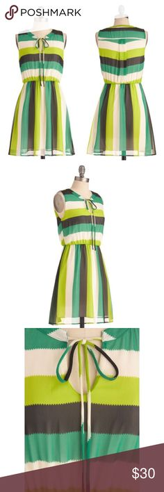 """Modcloth """"Vegetable Stalk Exchange"""" Dress Beautiful summer dress - tie detail at neck, fully lined, 33.5"""" shoulder to hem, elasticized waist provides stretch - excellent condition, no signs of wear ModCloth Dresses"""
