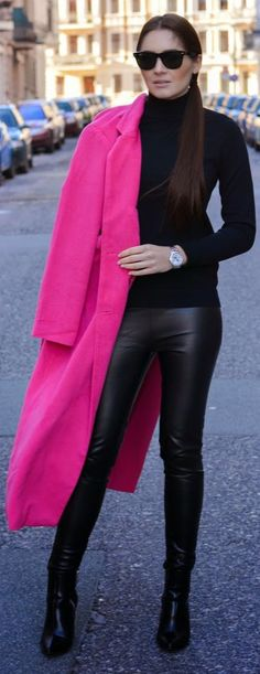 Color Blocking Pink Winter Coat by Stylish !