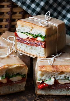 Smurf Birthday Party Sandwich ideas: Pressed Italian Picnic Sandwiches. Add olive tapenade, marinated artichokes, red onion, use roasted red/yellow/orange peppers