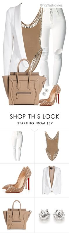 """""""White x Nude"""" by highfashionfiles ❤ liked on Polyvore featuring (+) PEOPLE, Norma Kamali, Christian Louboutin and SLY 010"""