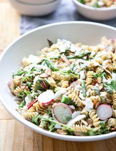 spring pasta salad with creamy avocado dressing