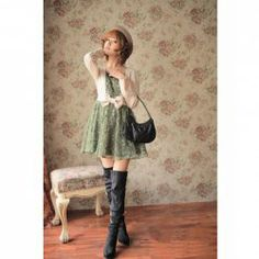 Charming Bowknot Embellished Middle Waist Flower Patterns Green Long Sleeves False Two Pieces Woven+Lace Dress For Women