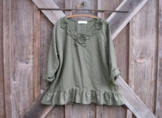 linen top blouse with vines and roses in moss green Ready to