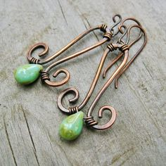 Hammered Copper and Wire Wrapped Picasso Czech Glass Drops Dangle earrings - earthy jewelry