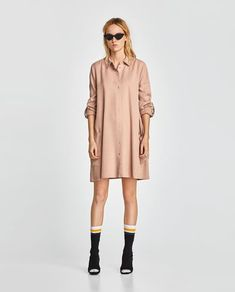 FLOWING DRESS WITH CONTRASTING TRIM-Mini-DRESSES-WOMAN | ZARA Israel