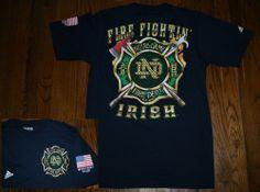 New NOTRE DAME FIRE FIGHTIN' IRISH DEPARTMENT Adidas T-Shirt Tee-Mens M-football
