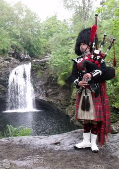 Piper at the Falls of Fallis, Loch Lomand-one of my favourite places. England Ireland, England And Scotland, Scottish Kilts, Edinburgh, Glasgow Scotland, Men In Kilts, Loch Lomond, Scotland Travel, My Heritage