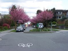 Vancouver landscaped traffic calming as part of bicycle boulevard