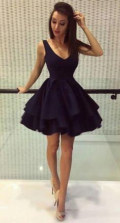 A-Line Deep V-Neck Short Black Satin Homecoming Dress