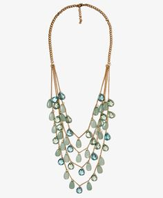Faceted Teardrop Swag Necklace | FOREVER21 - 1017410799