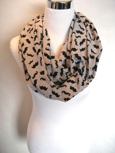 LONG Black MUSTACHE print on Gray Grey cotton jersey knit Infinity Scarf by ChevronScarf, $25.00