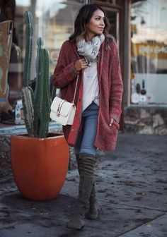 Sincerely Jules - Free People Cardigan | Stuart Weitzman 'Lowland' OTK Boots