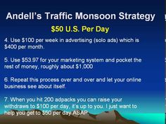 Andell's Traffic Monsoon Strategy