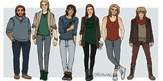 Modern Hobbit/Lord of the Rings characters by cargsdoodles.  Gimli, Legolas, Kili, Tauriel, Fili, and Ori