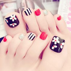 24 pcs cute flower mix art false toe nails for women Cute Toe Nails, Toe Nail Art, My Nails, Acrylic Nails, Pedicure Designs, Toe Nail Designs, Pedicure Ideas, Red Toenails, Nagel Hacks