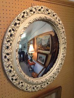 White plaster framed convex mirror. Convex Mirror, Plaster, Frame, Furniture, Home Decor, Plaster Coving, Picture Frame, Gypsum, Frames