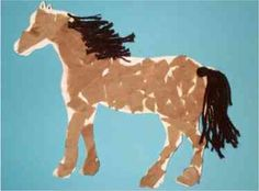 Horse project, preschool art project use blue for brown bear book project