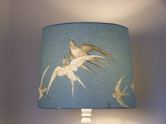 Lampshade for standard lamp. Sanderson 'Swallows' in blue. £57.00