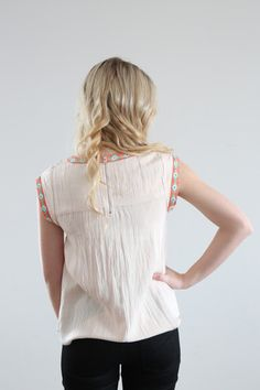 The Thai Embroidered Blouse in Blush