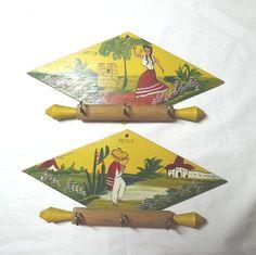 Ensemble vintage 1963 de 2 Plaques murales de Mexico avec Mini rouleaux à…