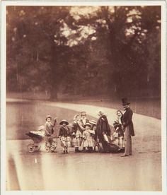 22 May 1854 photograph taken in the garden of Buckingham Palace of Queen Victoria and Prince Albert with 8 of their children.
