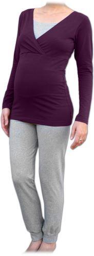 Pyžamo pro těhotné a kojící, dlouhé, švestka+šedý melír