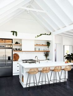 home interior design ideas kerala Home Interior, Interior Design Kitchen, Modern Interior, Kitchen Designs, Interior Styling, Interior Decorating, Modern Farmhouse Kitchens, Rustic Kitchen, Kitchen White