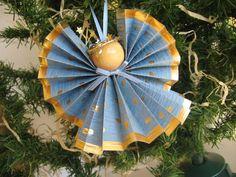 Angel Christmas Ornament Cornflower Blue Paper by SnowNoseCrafts, $4.00