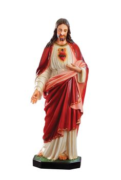 Sacred Heart of Jesus statue, height 156 cm. in fiberglass hand painted with acrylic colors and trim with oil colors, available with glass eyes. Made in Italy