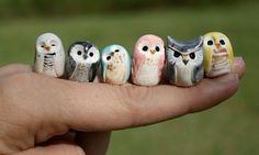 Miniature owls - a shape not too hard to make. add texture