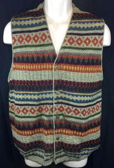 Tumi Men's 100 Alpaca Multi Color Striped V Neck Button Sweater Vest Size M   eBay