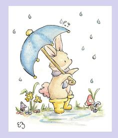 April Showers bring bunnies in puddle boots! Printed on 8.5in X 11in paper, the image is formatted to fit an 8in X 10in frame opening, and comes packaged in a bend resistant mailer and cellophane sleeve and cardboard support. Printed by myself on 100% archival quality 61 lb. matte